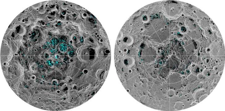 ¡Se confirma la presencia de agua congelada en la superficie de la Luna!