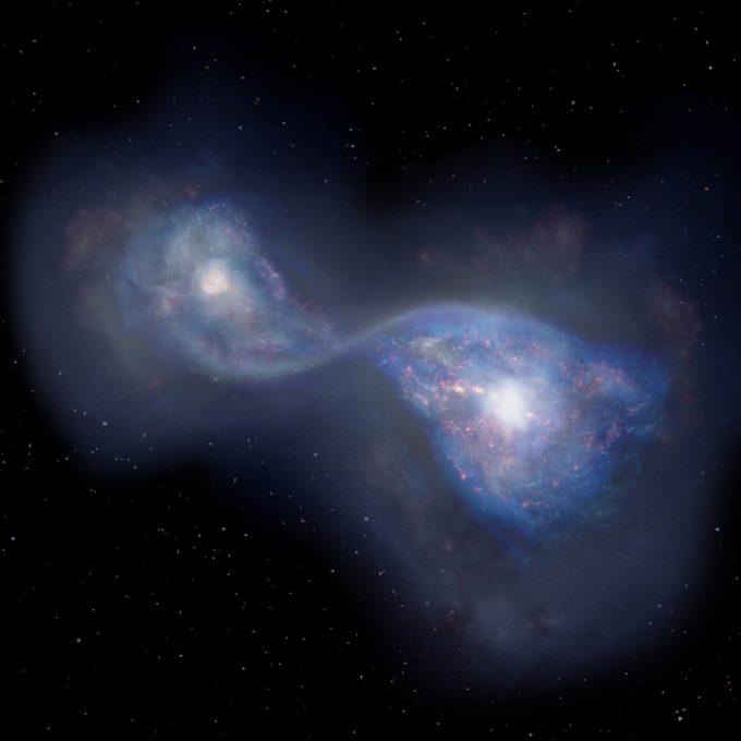 Astrónomos acaban de encontrar la primera muestra de una fusión de galaxias