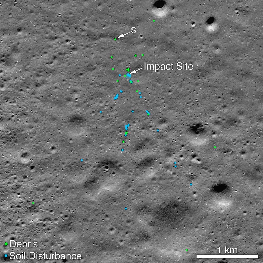Sonda de la NASA encuentra el lugar donde se estrelló el módulo lunar indio