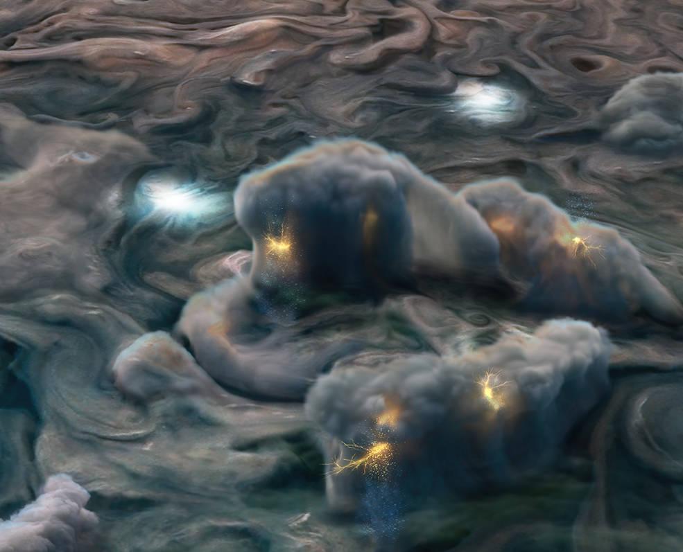Juno: 'rayos superficiales' revelan que las nubes en Júpiter tienen amoniaco