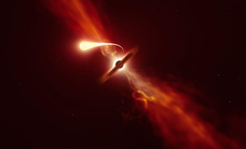 """Astrónomos captan a un agujero negro """"espaguetificando"""" a una estrella"""