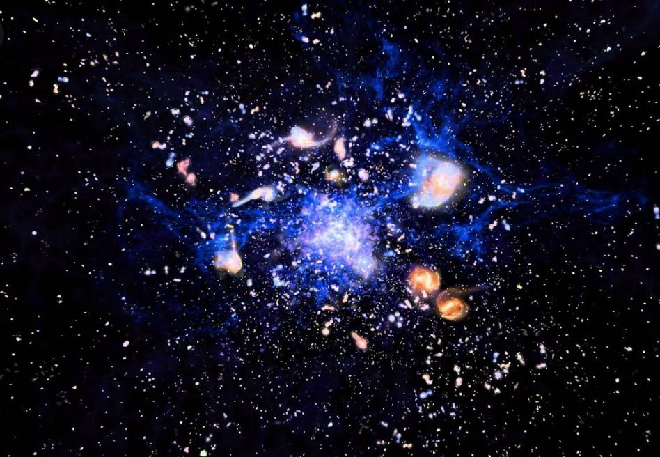 Astrónomos encuentran un cúmulo de galaxias en formación a 13.000 millones de años luz