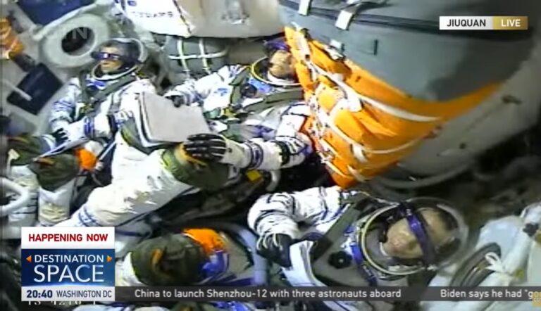 China envía sus primeros taikonautas a su nueva estación espacial