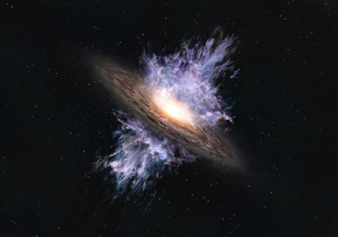 Astrónomos detectan gigantesco viento galáctico de un agujero negro en el Universo temprano