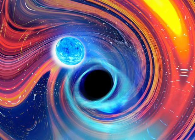 Astrónomos detectan ondas gravitacionales de la fusión de una estrella de neutrones y un agujero negro