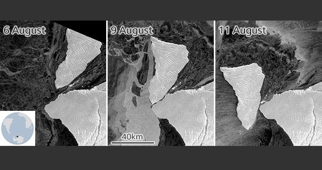 Un gigantesco iceberg por poco choca directamente con la Antártida