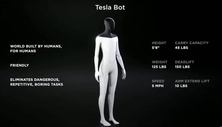 """Elon Musk presentó lo que será su """"Tesla Bot"""", un robot humanoide que causa escepticismo"""
